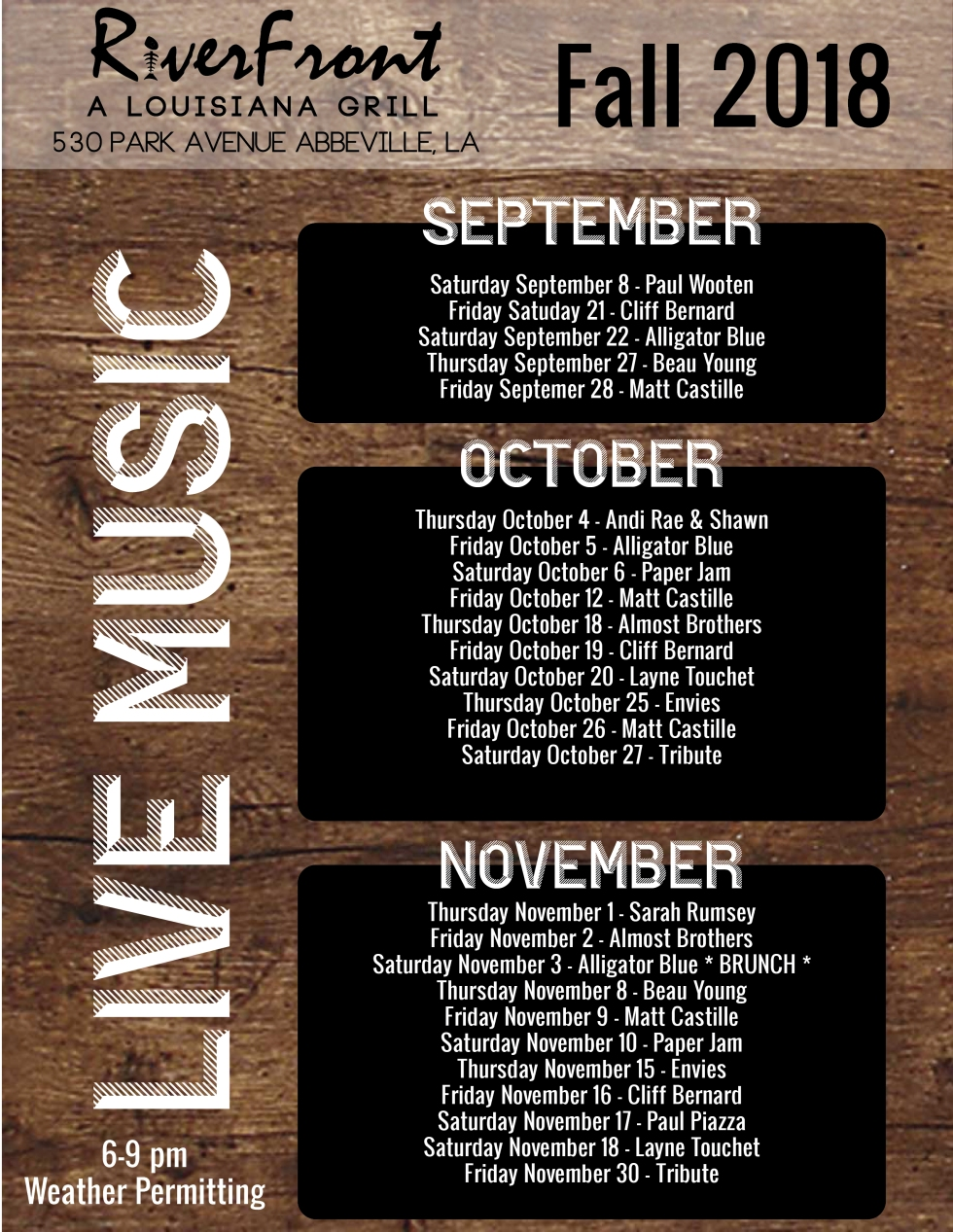 RiverFront Music Linup Fall 18-02